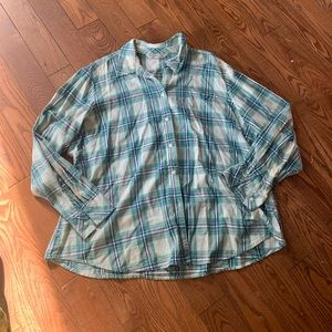 Rider by Lee blue plaid long sleeve button up flannel